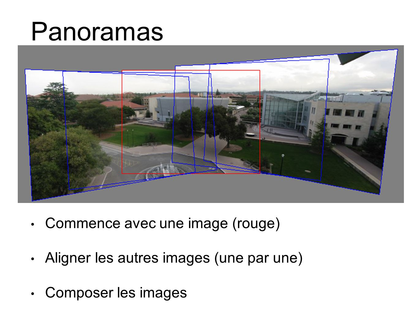 Panoramas Commence avec une image (rouge)
