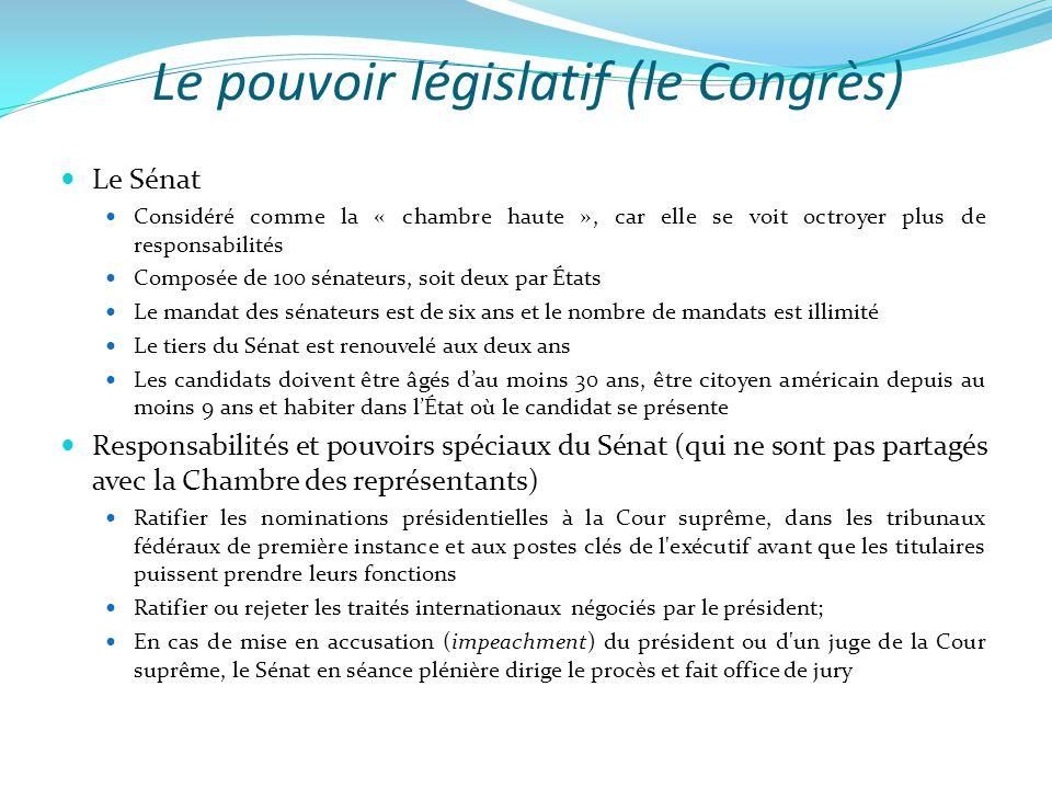 Le pouvoir législatif (le Congrès)