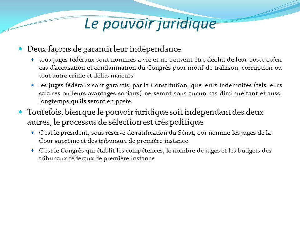 Le pouvoir juridique Deux façons de garantir leur indépendance