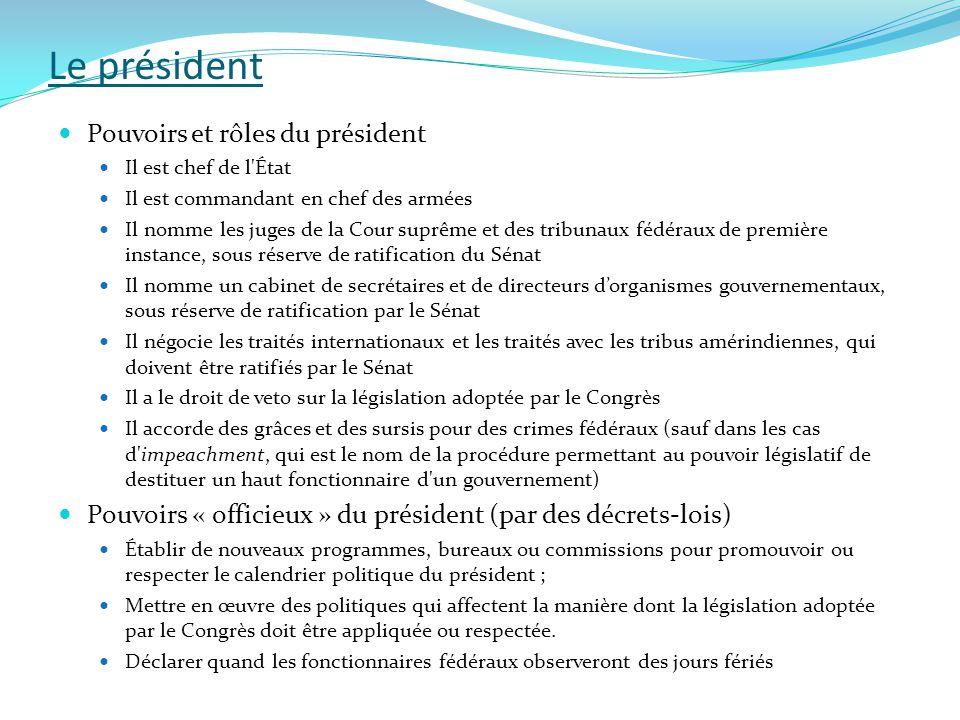 Le président Pouvoirs et rôles du président