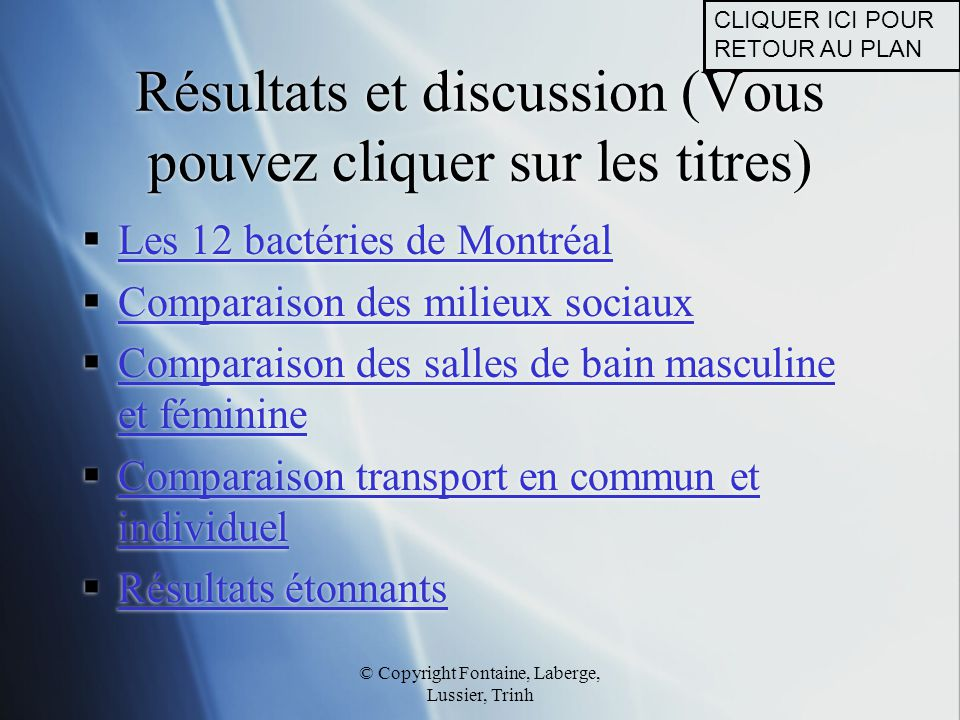 Résultats et discussion (Vous pouvez cliquer sur les titres)
