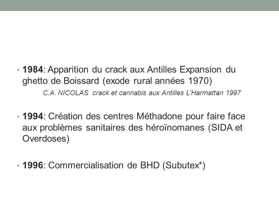 1996: Commercialisation de BHD (Subutex*)