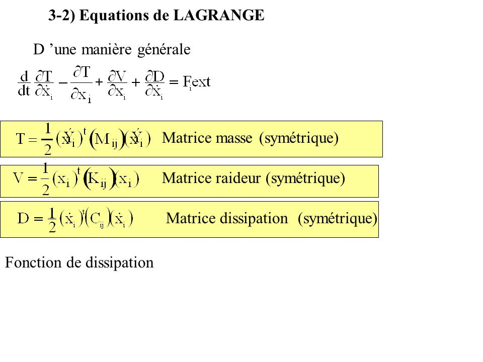 3-2) Equations de LAGRANGE