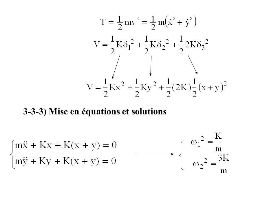 3-3-3) Mise en équations et solutions