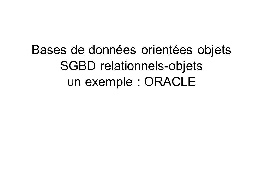 Bases de données orientées objets SGBD relationnels-objets
