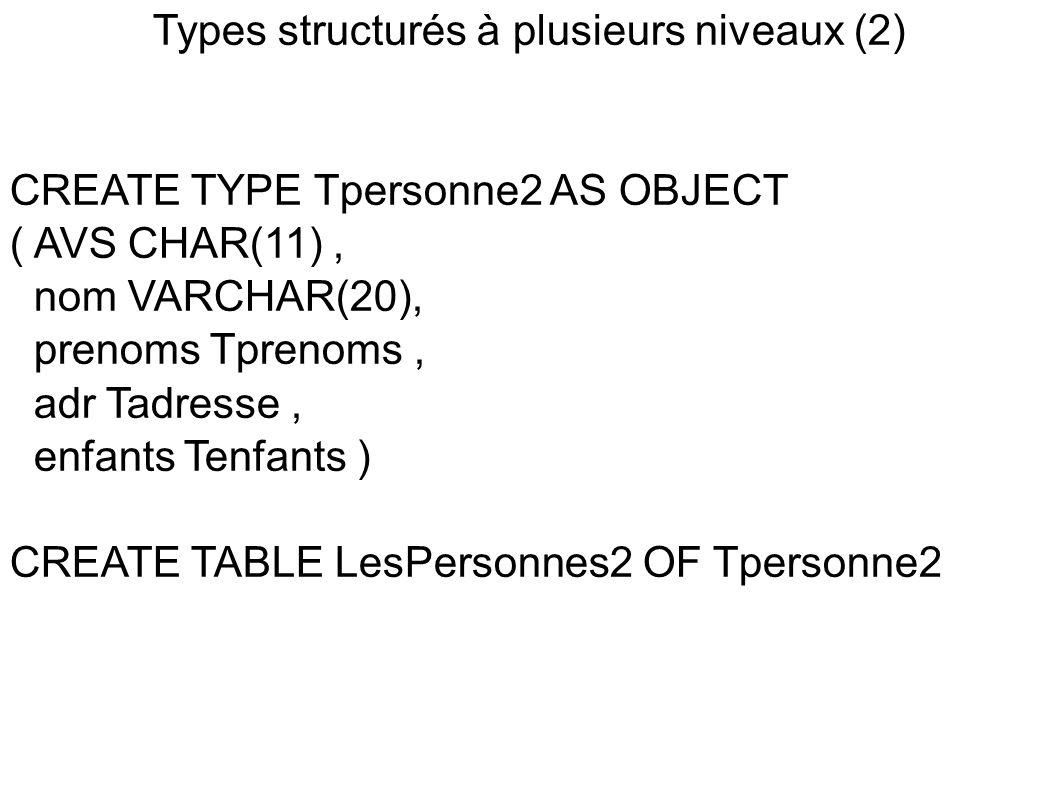 Types structurés à plusieurs niveaux (2)