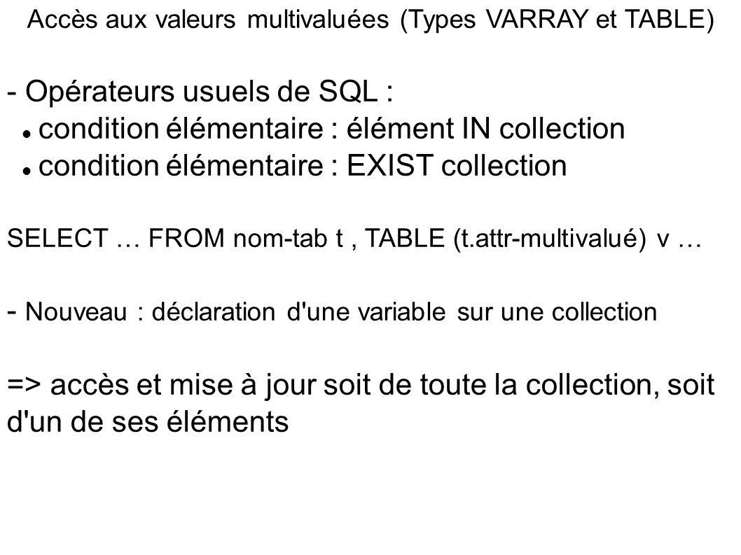 Accès aux valeurs multivaluées (Types VARRAY et TABLE)
