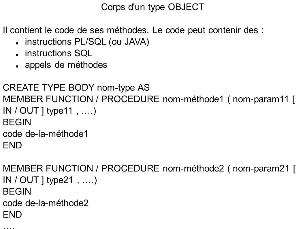 Corps d un type OBJECT Il contient le code de ses méthodes. Le code peut contenir des : instructions PL/SQL (ou JAVA)