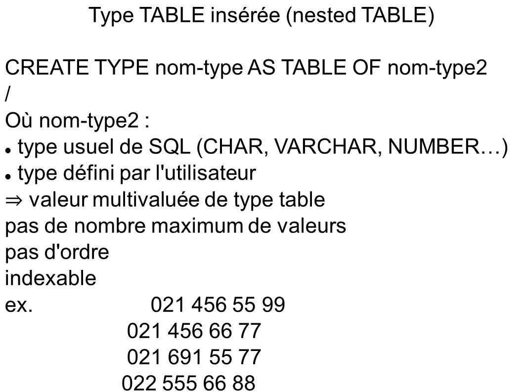 Type TABLE insérée (nested TABLE)