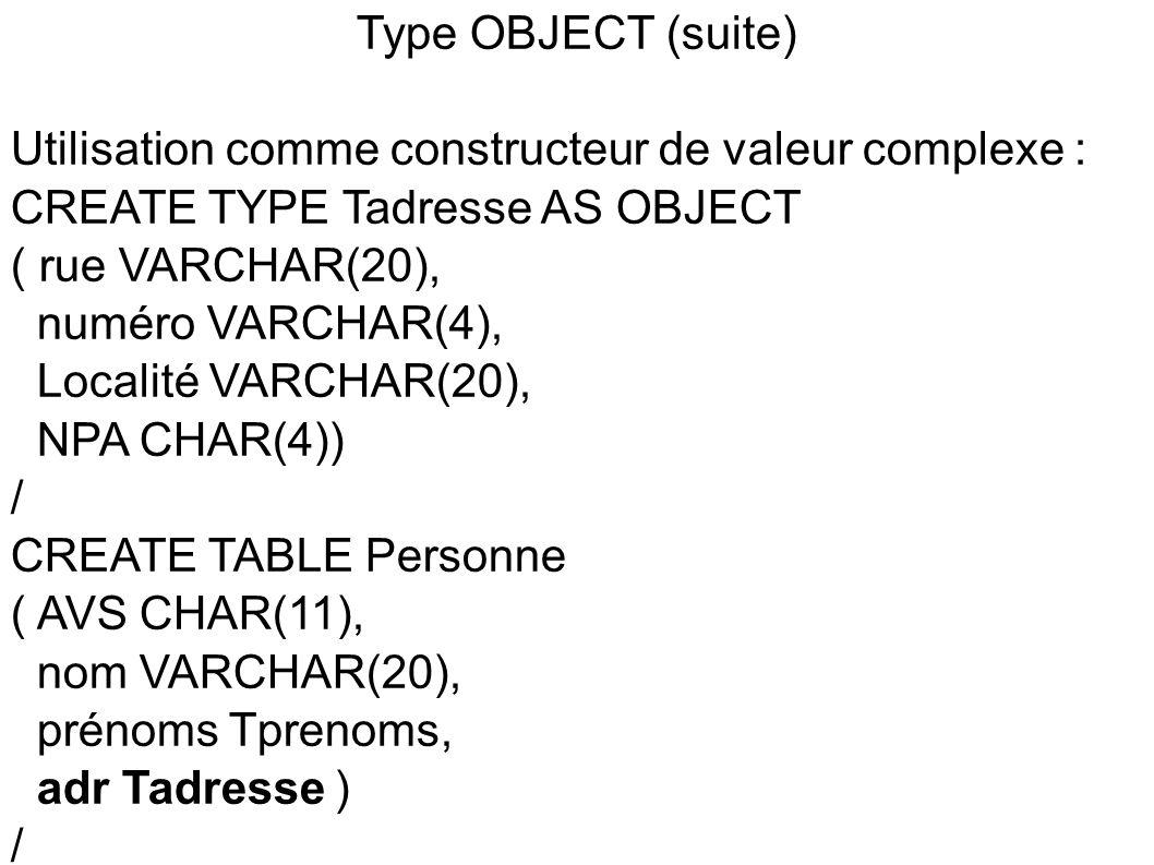 Type OBJECT (suite) Utilisation comme constructeur de valeur complexe : CREATE TYPE Tadresse AS OBJECT.
