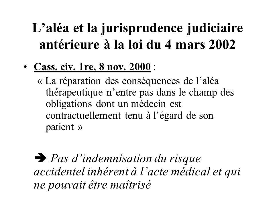 L'aléa et la jurisprudence judiciaire antérieure à la loi du 4 mars 2002