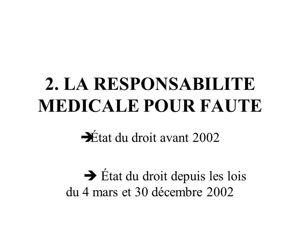 2. LA RESPONSABILITE MEDICALE POUR FAUTE