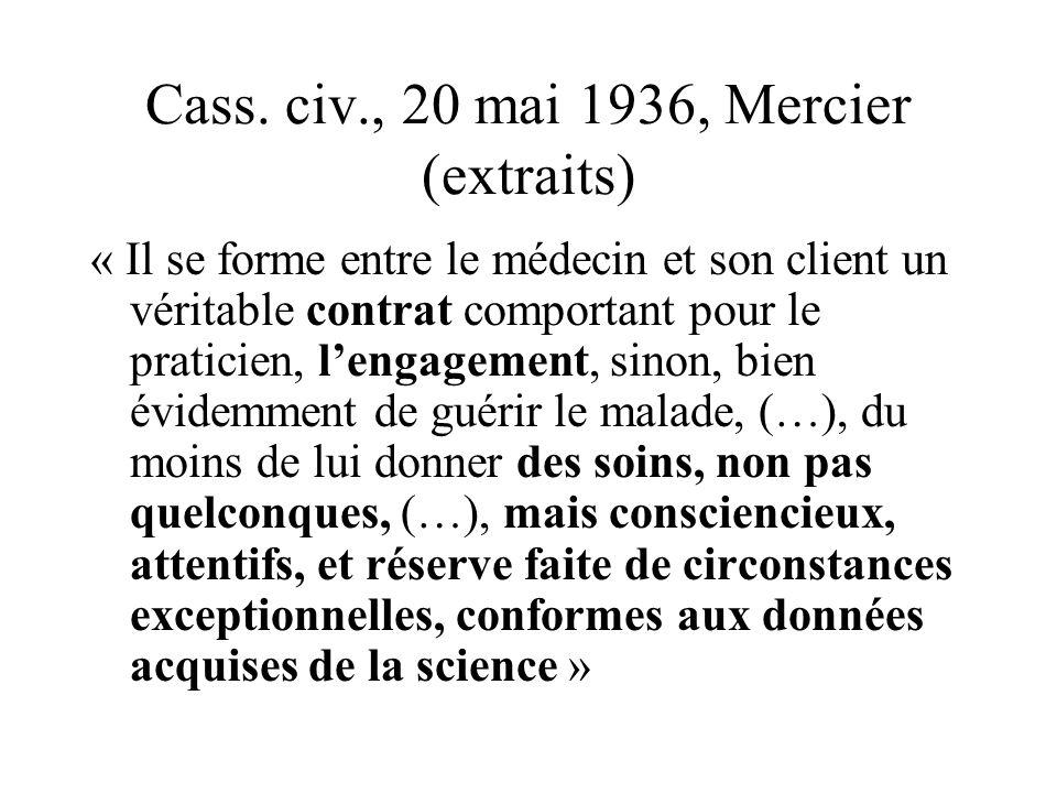 Cass. civ., 20 mai 1936, Mercier (extraits)