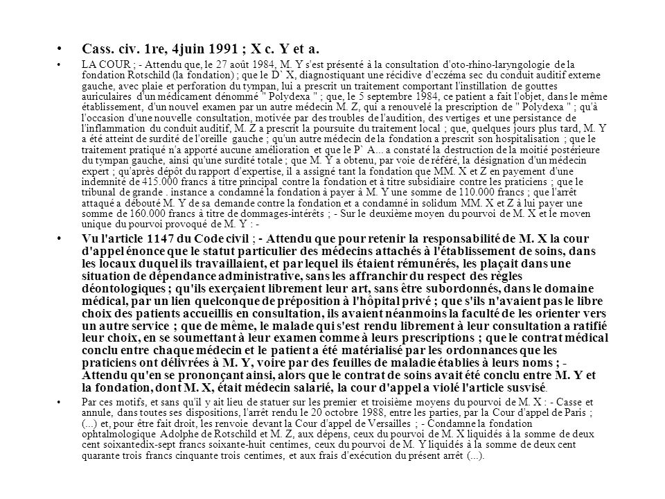 Cass. civ. 1re, 4juin 1991 ; X c. Y et a.