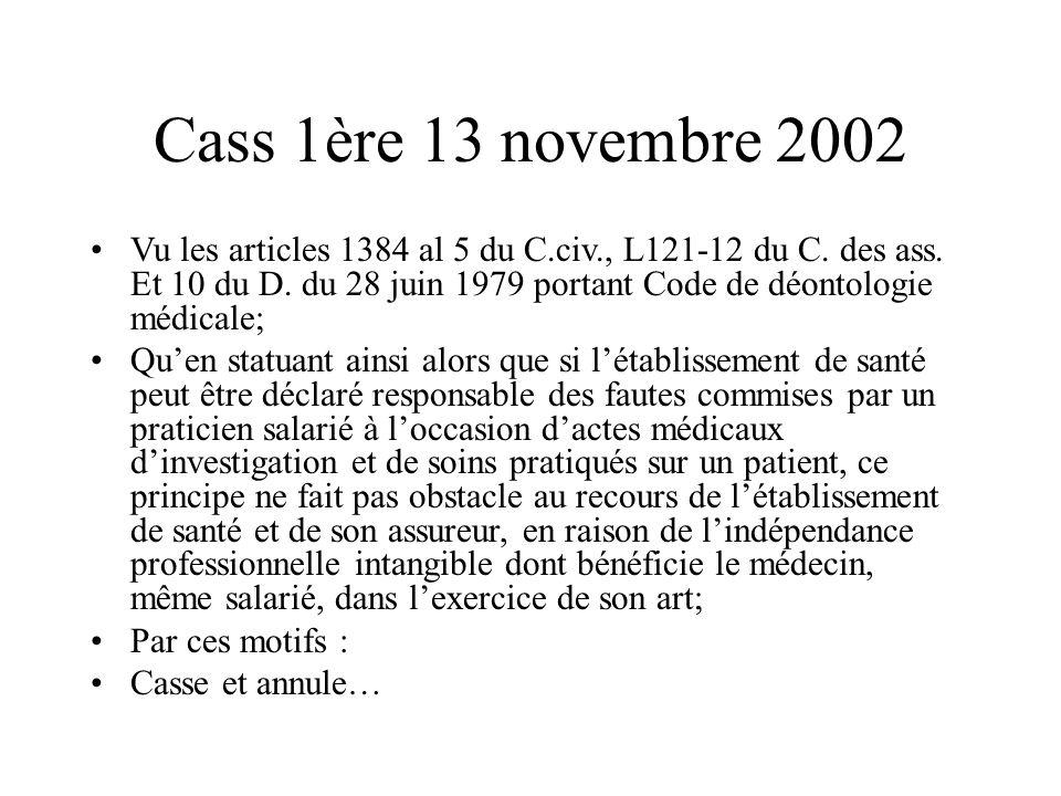 Cass 1ère 13 novembre 2002