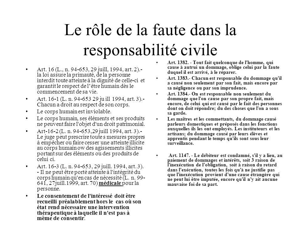 Le rôle de la faute dans la responsabilité civile