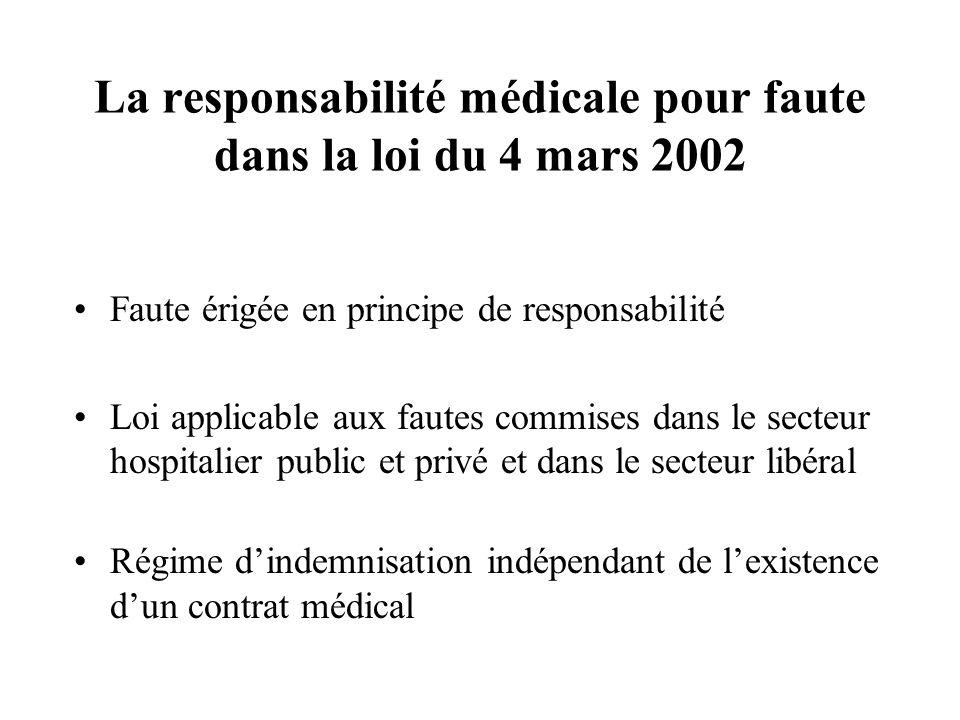 La responsabilité médicale pour faute dans la loi du 4 mars 2002