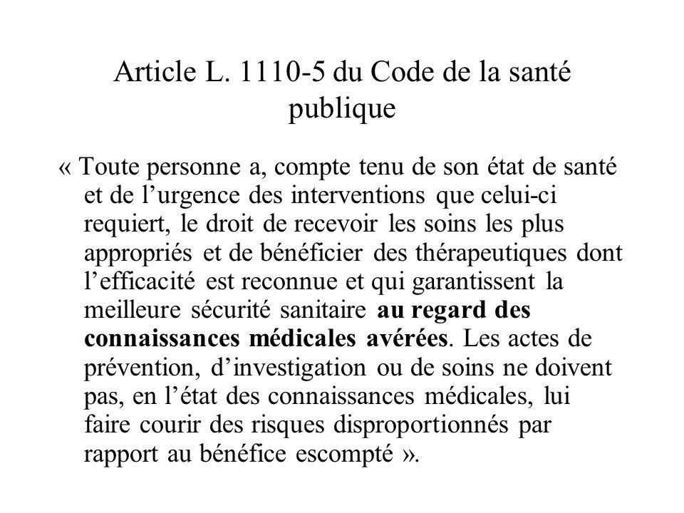 Article L. 1110-5 du Code de la santé publique