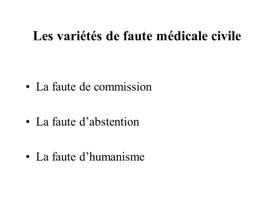 Les variétés de faute médicale civile