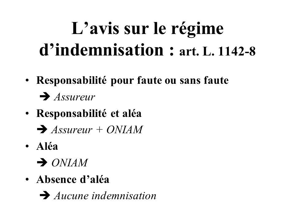 L'avis sur le régime d'indemnisation : art. L. 1142-8