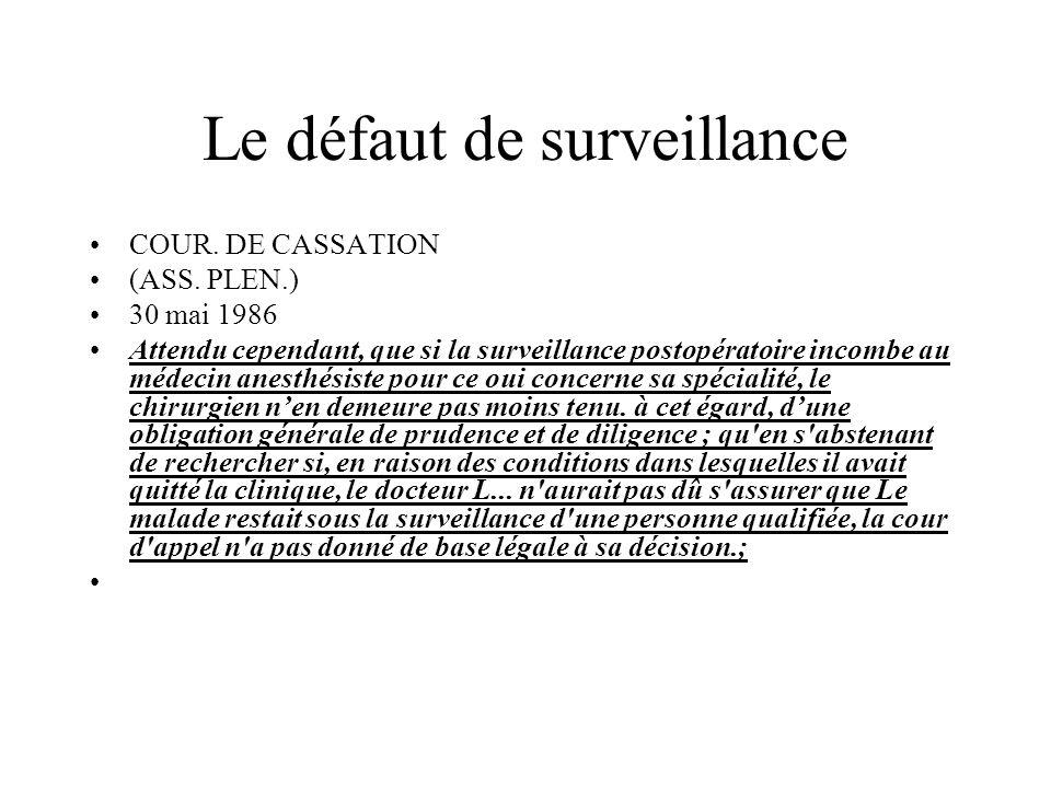 Le défaut de surveillance
