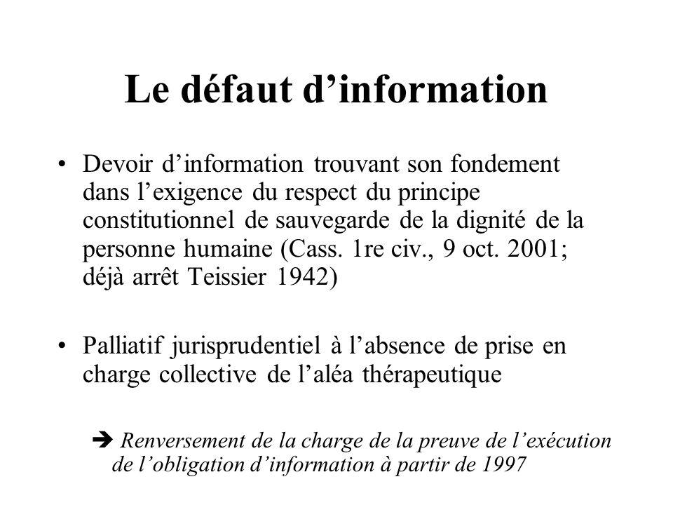 Le défaut d'information