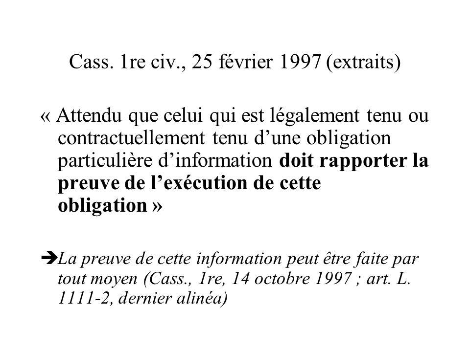 Cass. 1re civ., 25 février 1997 (extraits)
