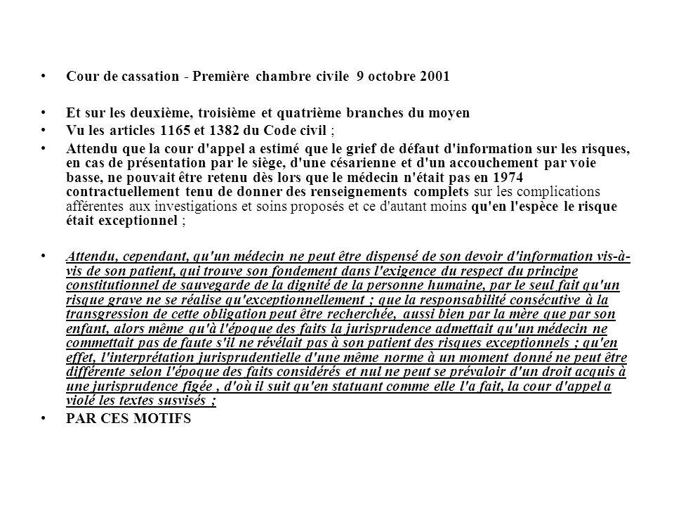 Cour de cassation - Première chambre civile 9 octobre 2001