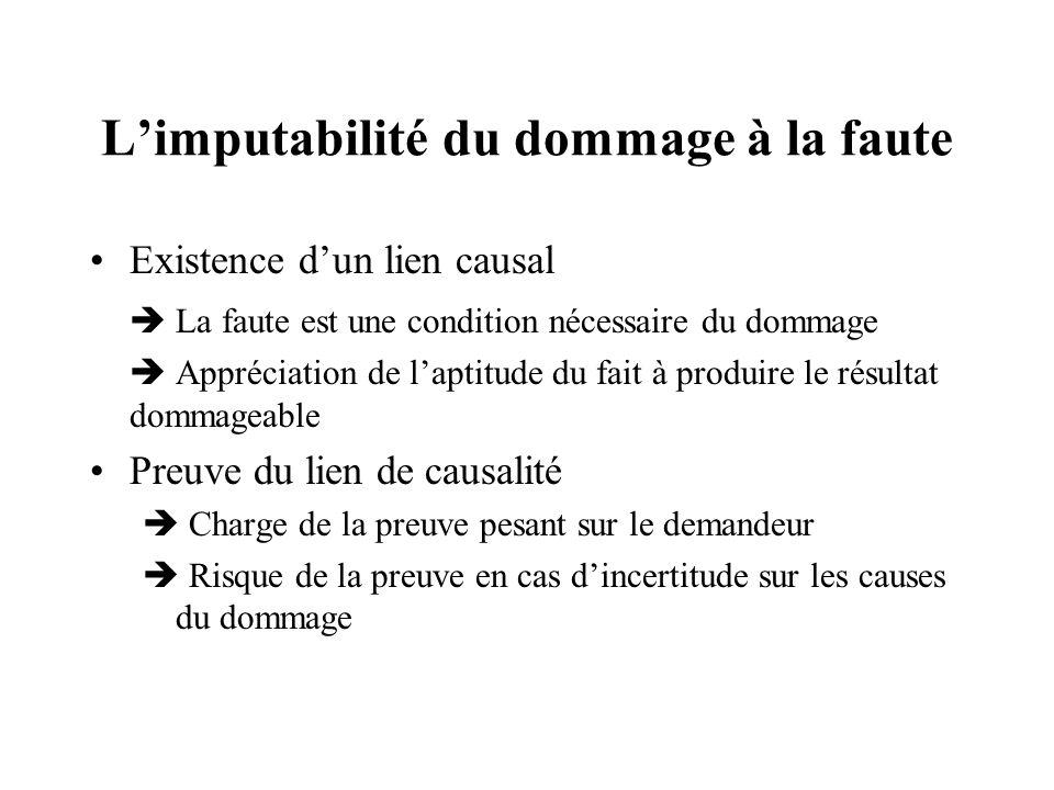 L'imputabilité du dommage à la faute