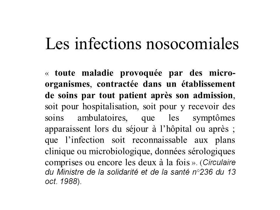 Les infections nosocomiales