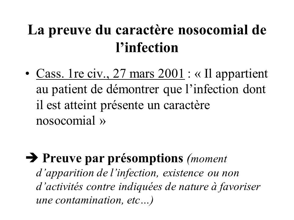 La preuve du caractère nosocomial de l'infection