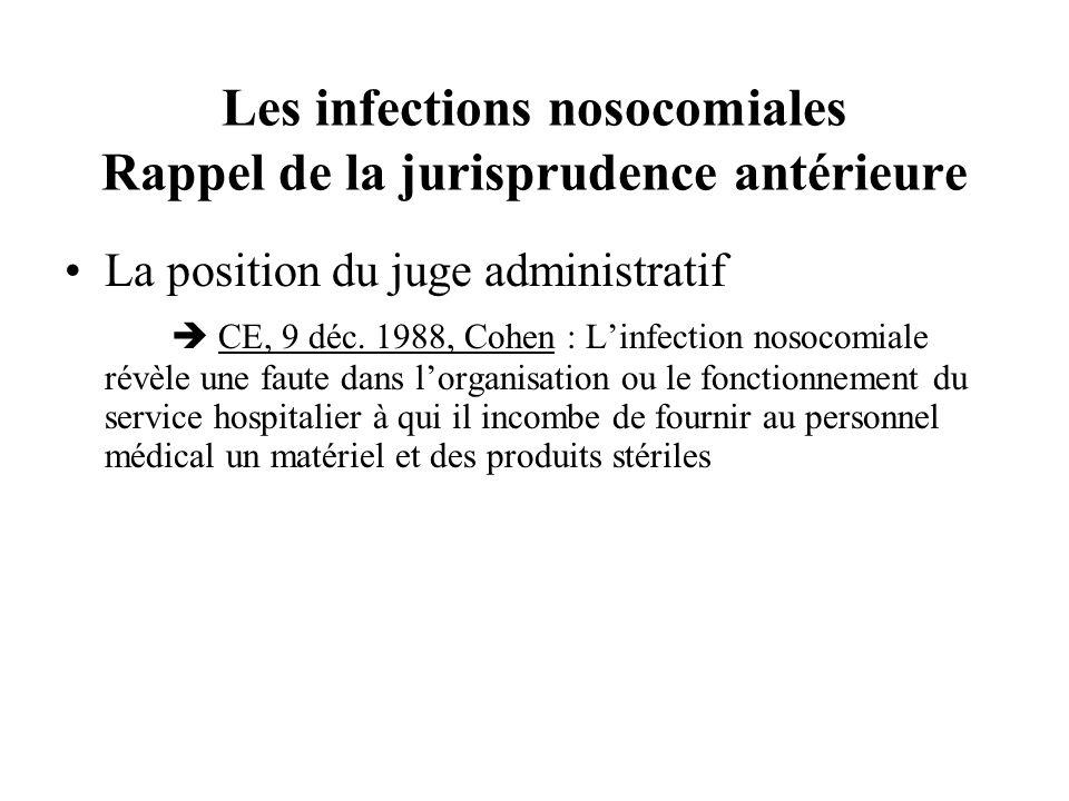 Les infections nosocomiales Rappel de la jurisprudence antérieure