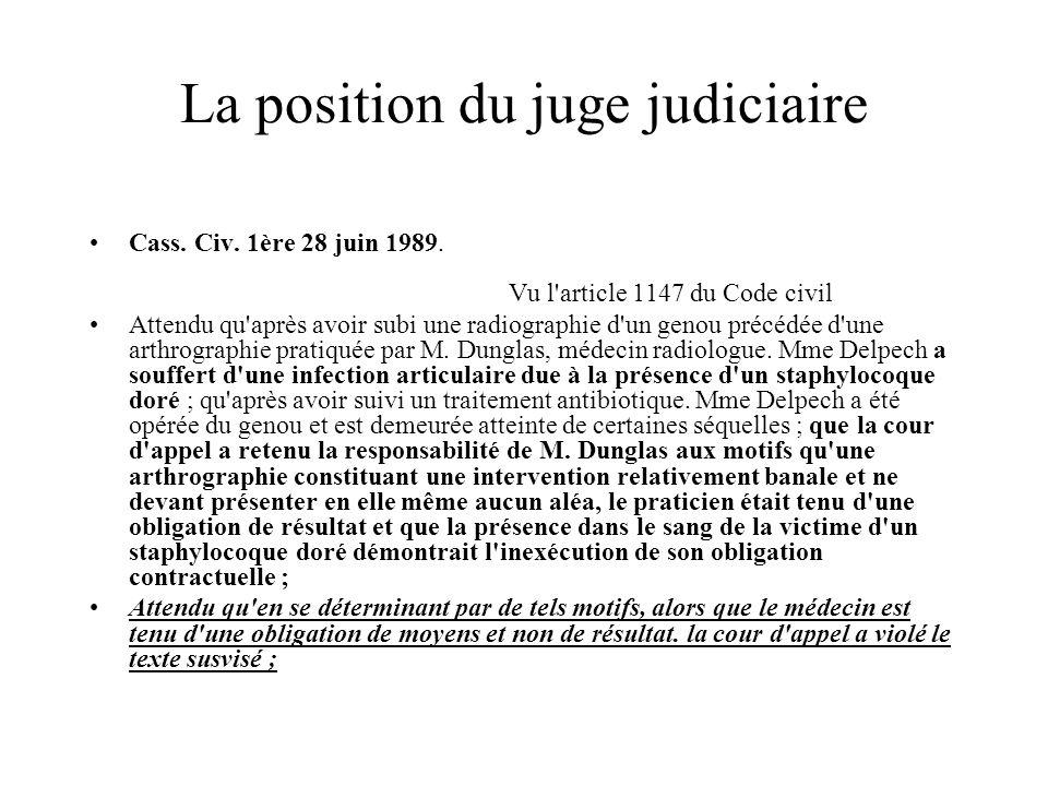 La position du juge judiciaire