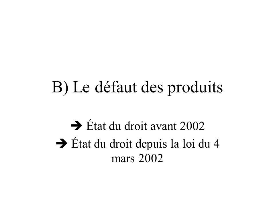 B) Le défaut des produits