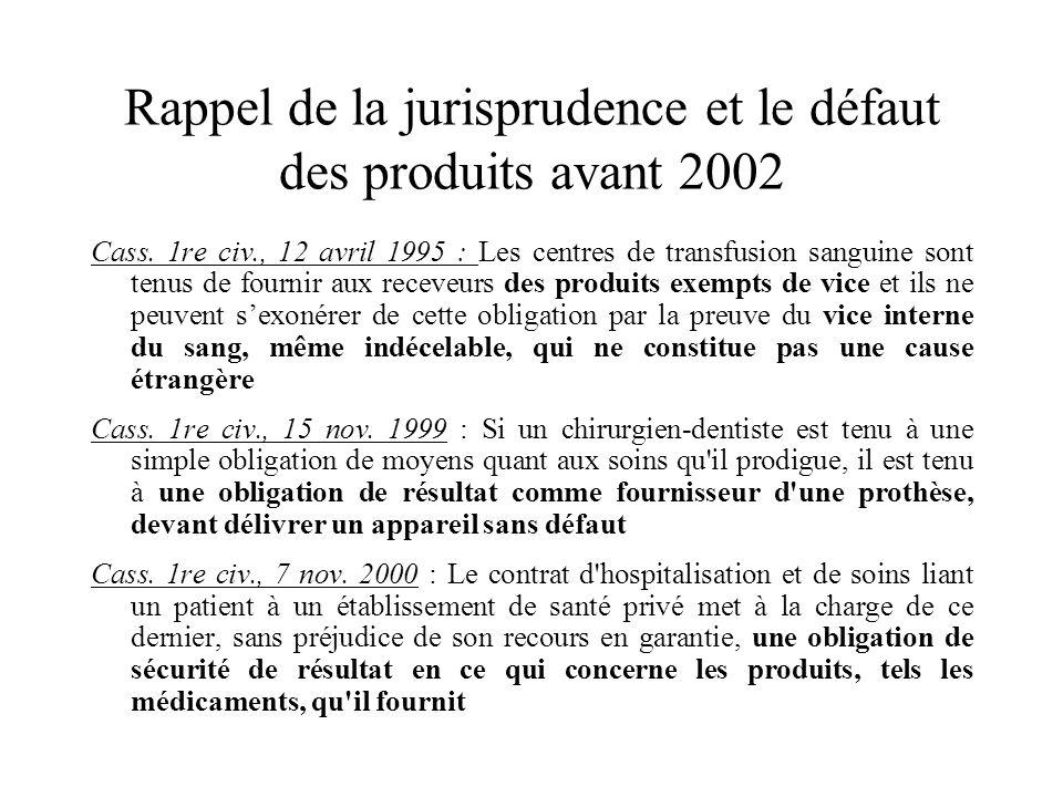 Rappel de la jurisprudence et le défaut des produits avant 2002