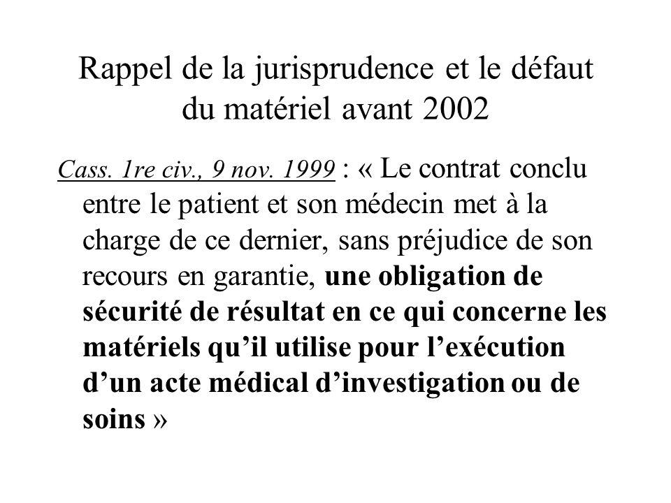 Rappel de la jurisprudence et le défaut du matériel avant 2002