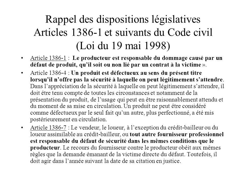 Rappel des dispositions législatives Articles 1386-1 et suivants du Code civil (Loi du 19 mai 1998)