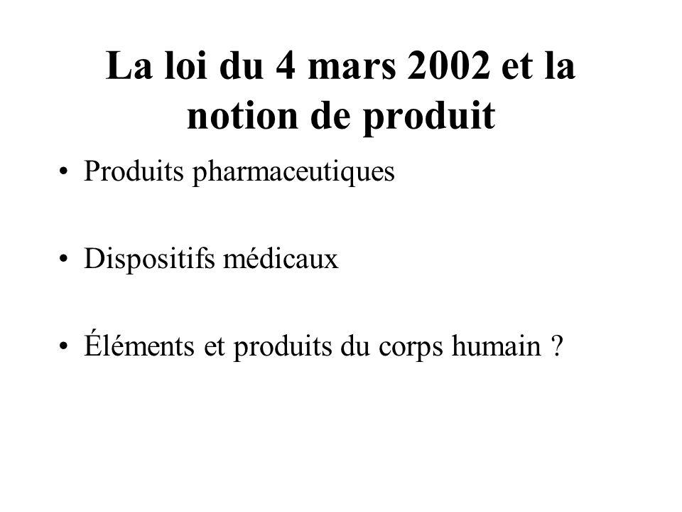 La loi du 4 mars 2002 et la notion de produit