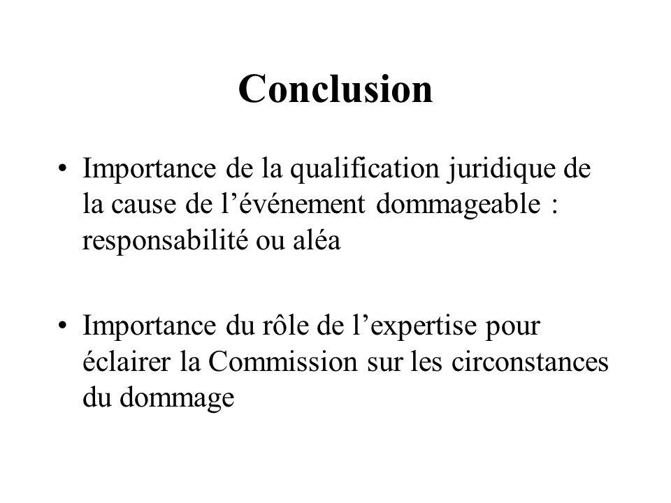 Conclusion Importance de la qualification juridique de la cause de l'événement dommageable : responsabilité ou aléa.
