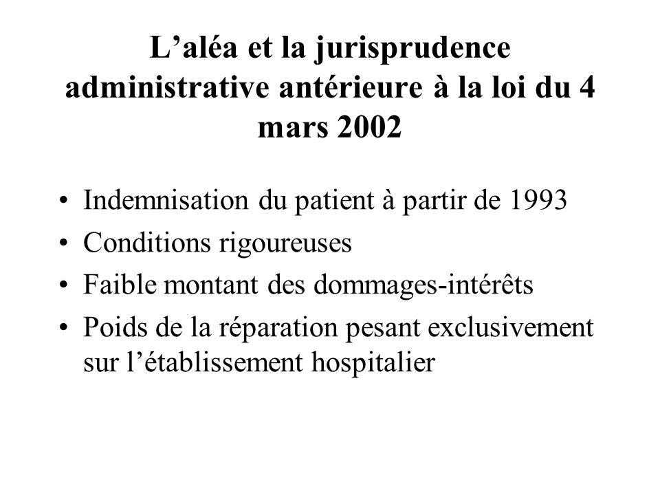 L'aléa et la jurisprudence administrative antérieure à la loi du 4 mars 2002