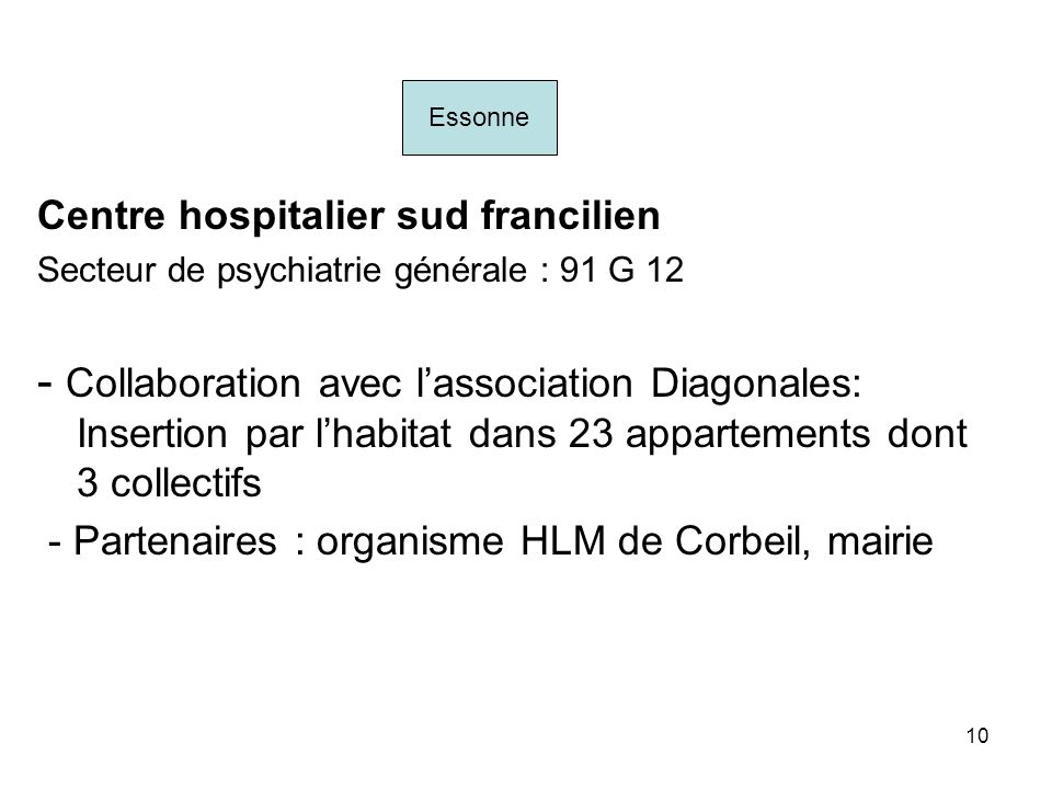 EssonneCentre hospitalier sud francilien. Secteur de psychiatrie générale : 91 G 12.