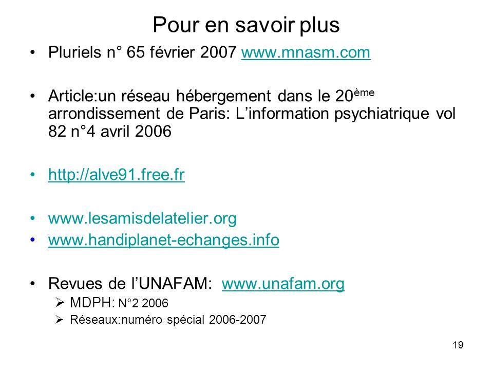 Pour en savoir plus Pluriels n° 65 février 2007 www.mnasm.com