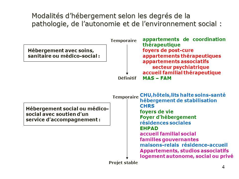 Modalités d'hébergement selon les degrés de la pathologie, de l'autonomie et de l'environnement social :