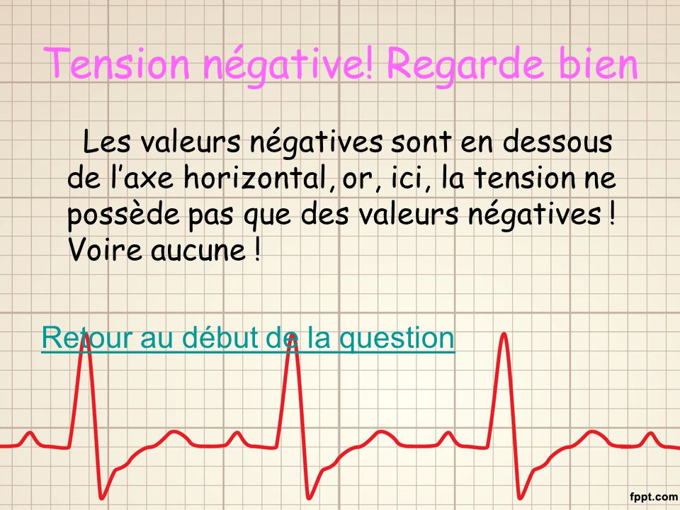 Tension négative! Regarde bien