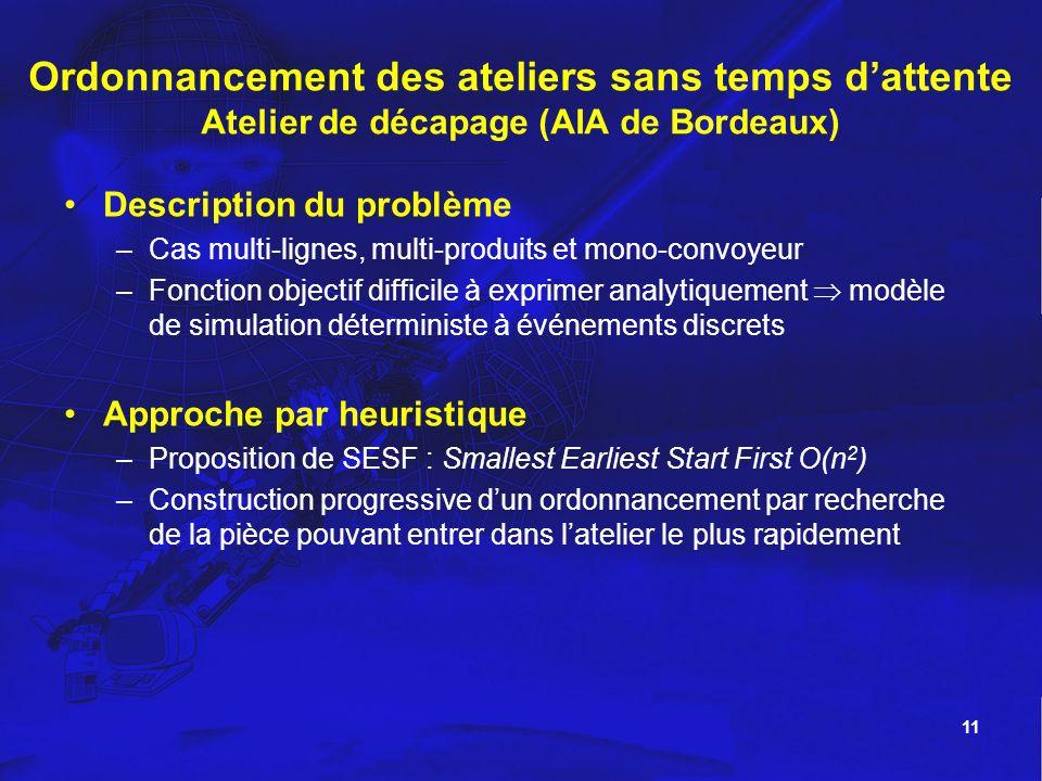 Ordonnancement des ateliers sans temps d'attente Atelier de décapage (AIA de Bordeaux)