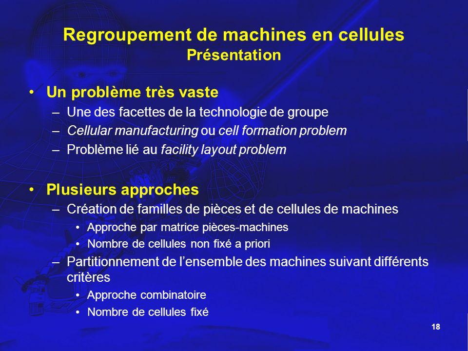 Regroupement de machines en cellules Présentation