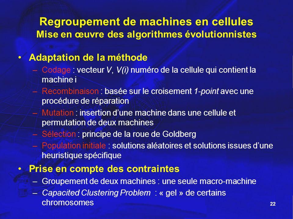Regroupement de machines en cellules Mise en œuvre des algorithmes évolutionnistes