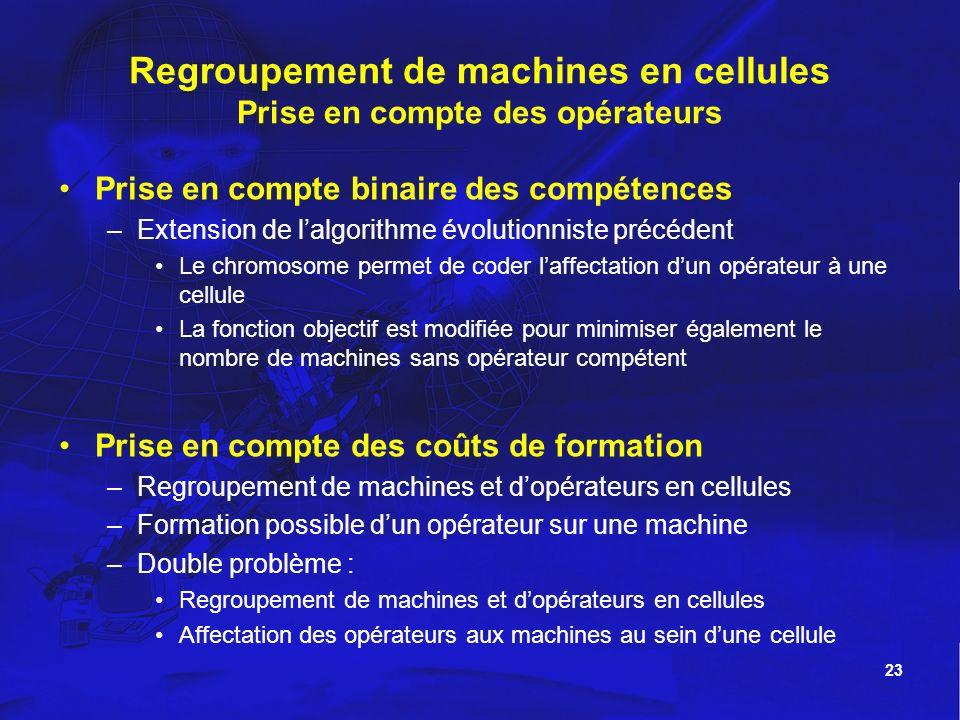 Regroupement de machines en cellules Prise en compte des opérateurs
