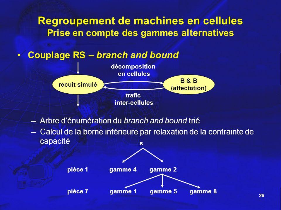 Regroupement de machines en cellules Prise en compte des gammes alternatives