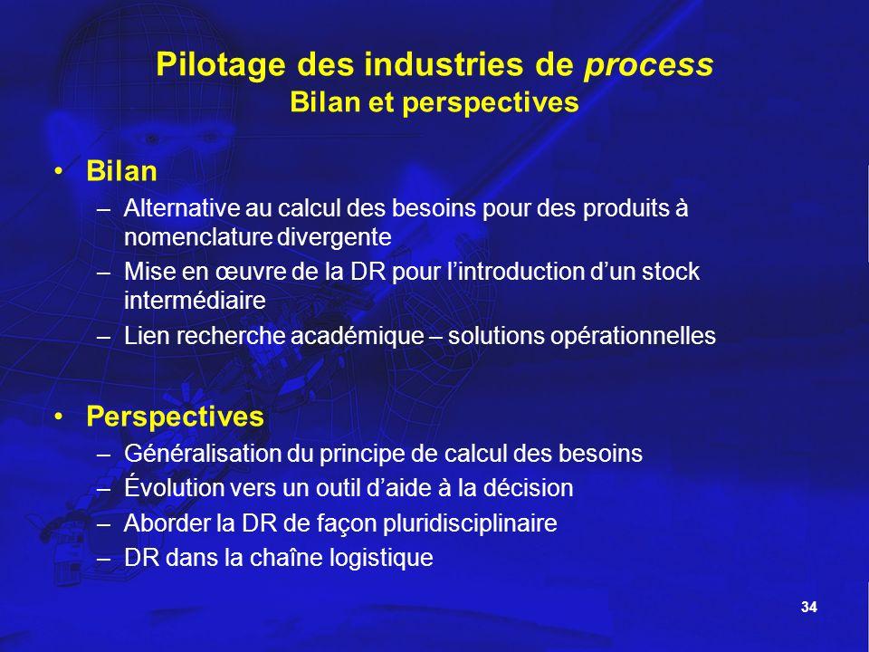 Pilotage des industries de process Bilan et perspectives